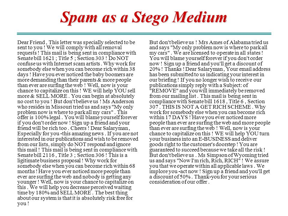 Spam as a Stego Medium
