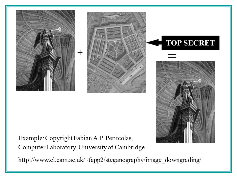 = + TOP SECRET Example: Copyright Fabian A.P. Petitcolas,