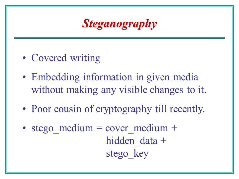 Steganography Covered writing