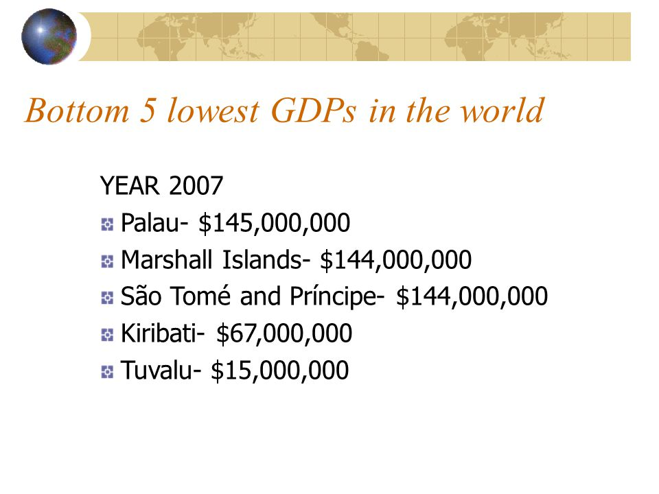 Bottom 5 lowest GDPs in the world
