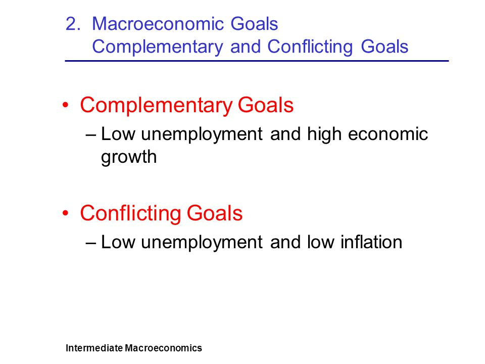 2. Macroeconomic Goals Complementary and Conflicting Goals