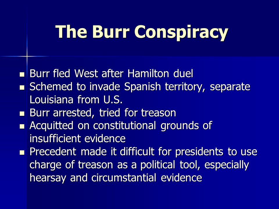 The Burr Conspiracy Burr fled West after Hamilton duel
