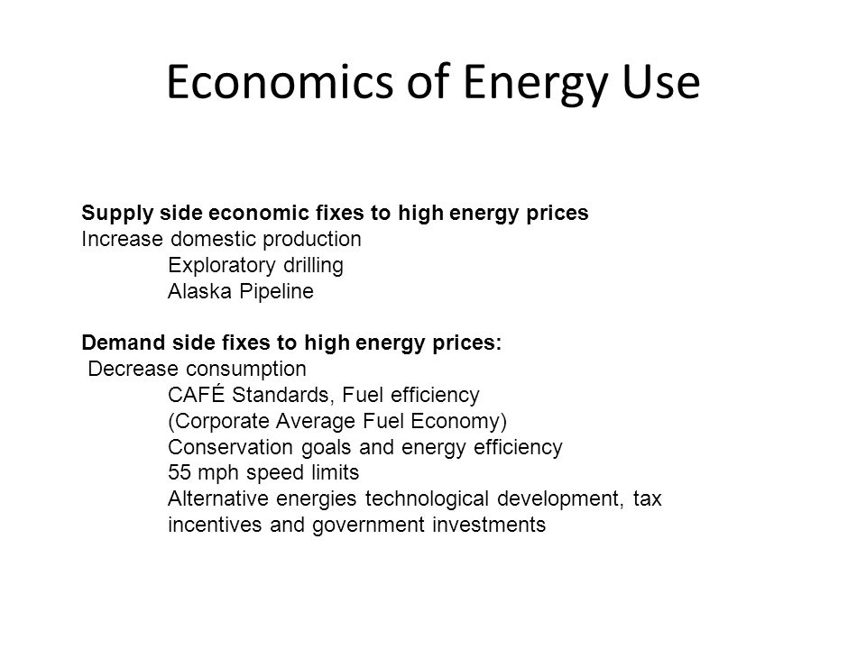 Economics of Energy Use