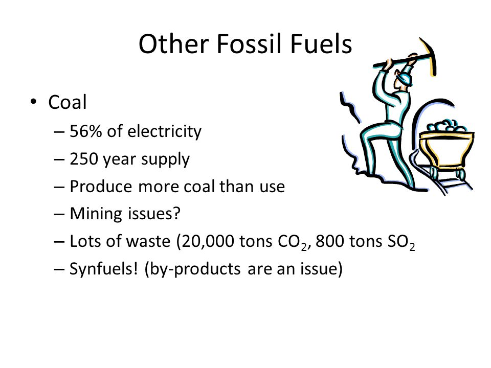 Other Fossil Fuels Coal 56% of electricity 250 year supply