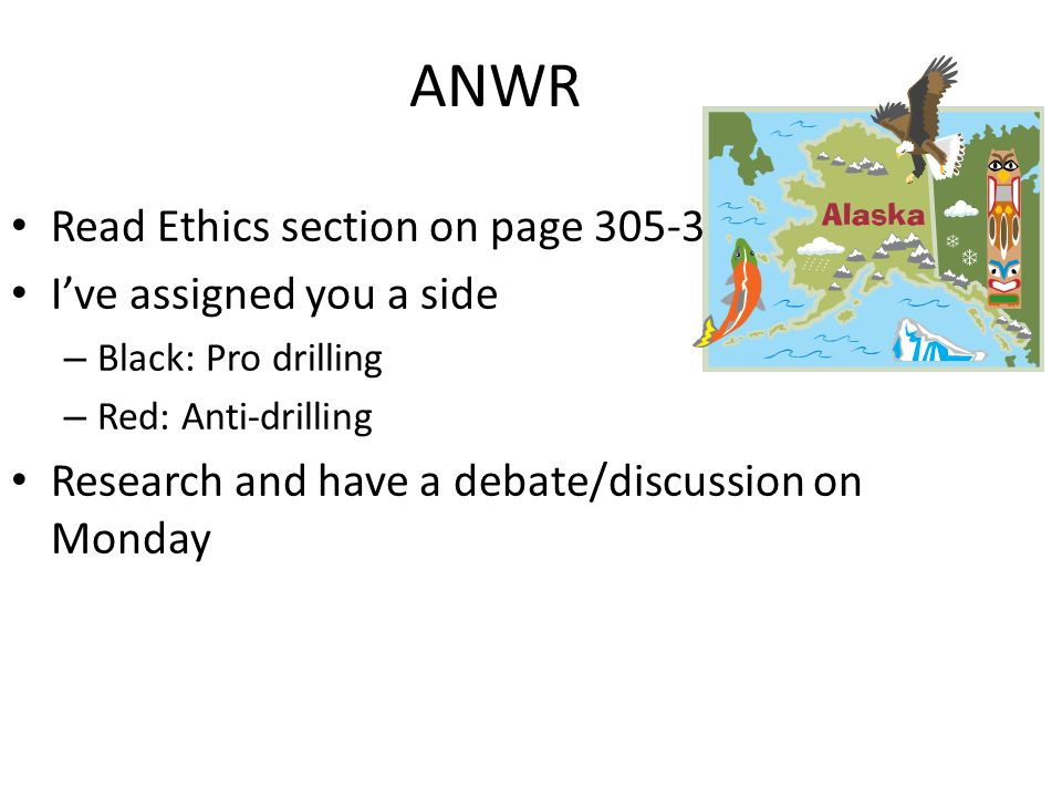ANWR Read Ethics section on page 305-306 I've assigned you a side