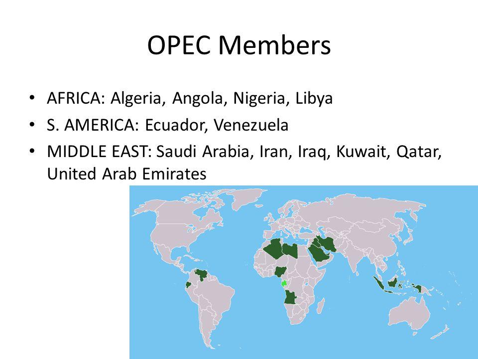 OPEC Members AFRICA: Algeria, Angola, Nigeria, Libya