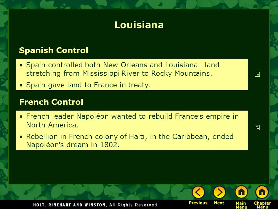 Louisiana Spanish Control French Control