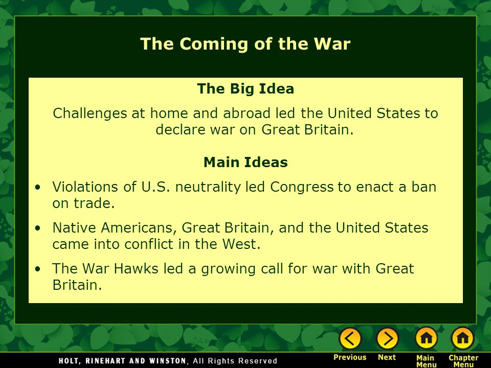 The Coming of the War The Big Idea