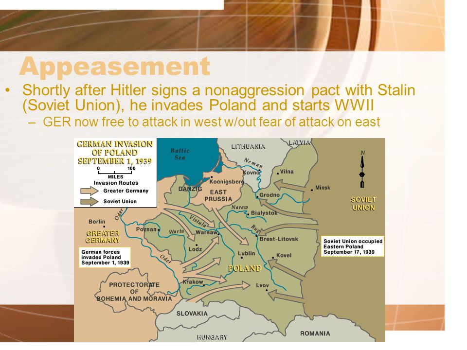 Appeasement Shortly after Hitler signs a nonaggression pact with Stalin (Soviet Union), he invades Poland and starts WWII.