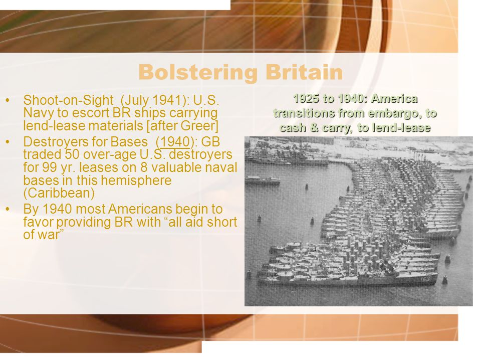 Bolstering Britain 1925 to 1940: America transitions from embargo, to cash & carry, to lend-lease.