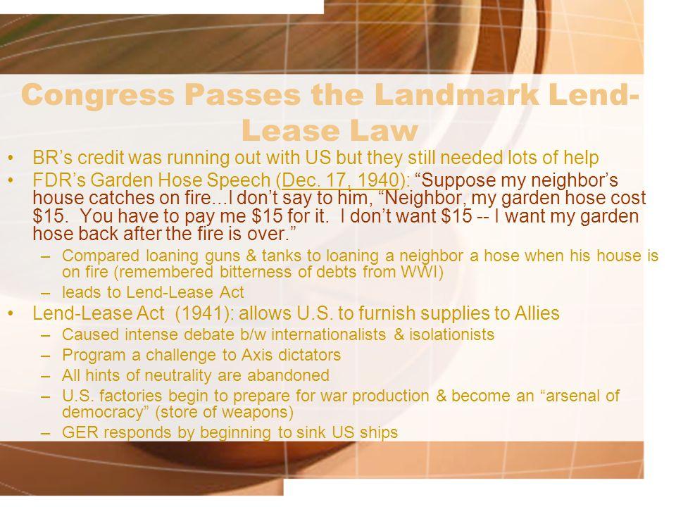 Congress Passes the Landmark Lend-Lease Law