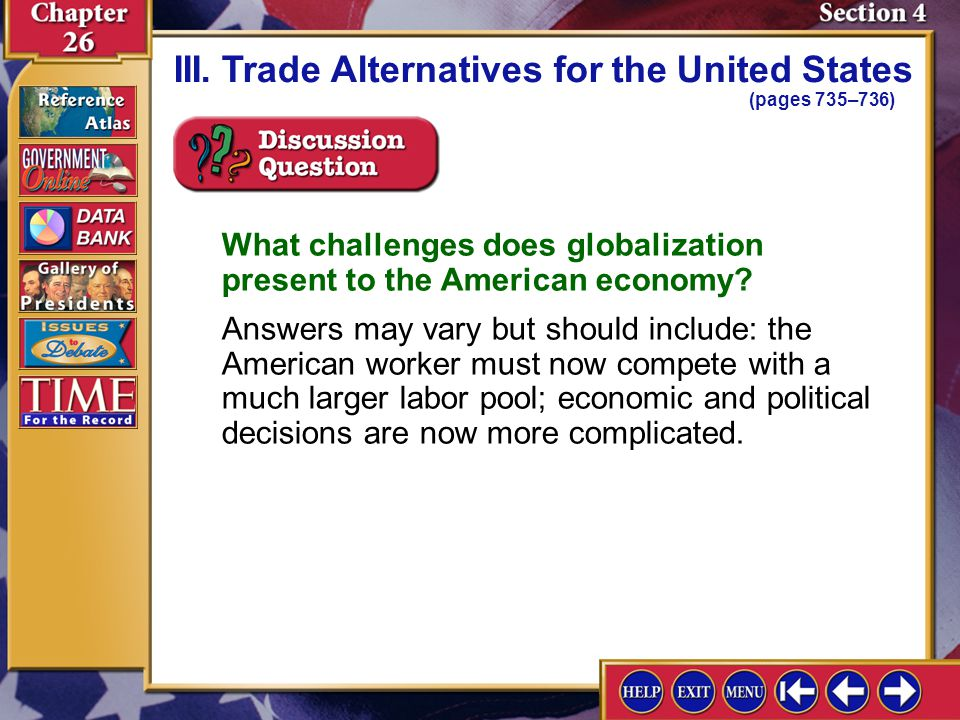 III. Trade Alternatives for the United States (pages 735–736)