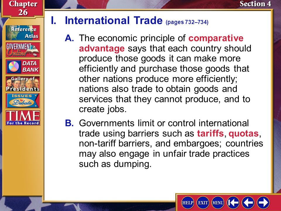 I. International Trade (pages 732–734)