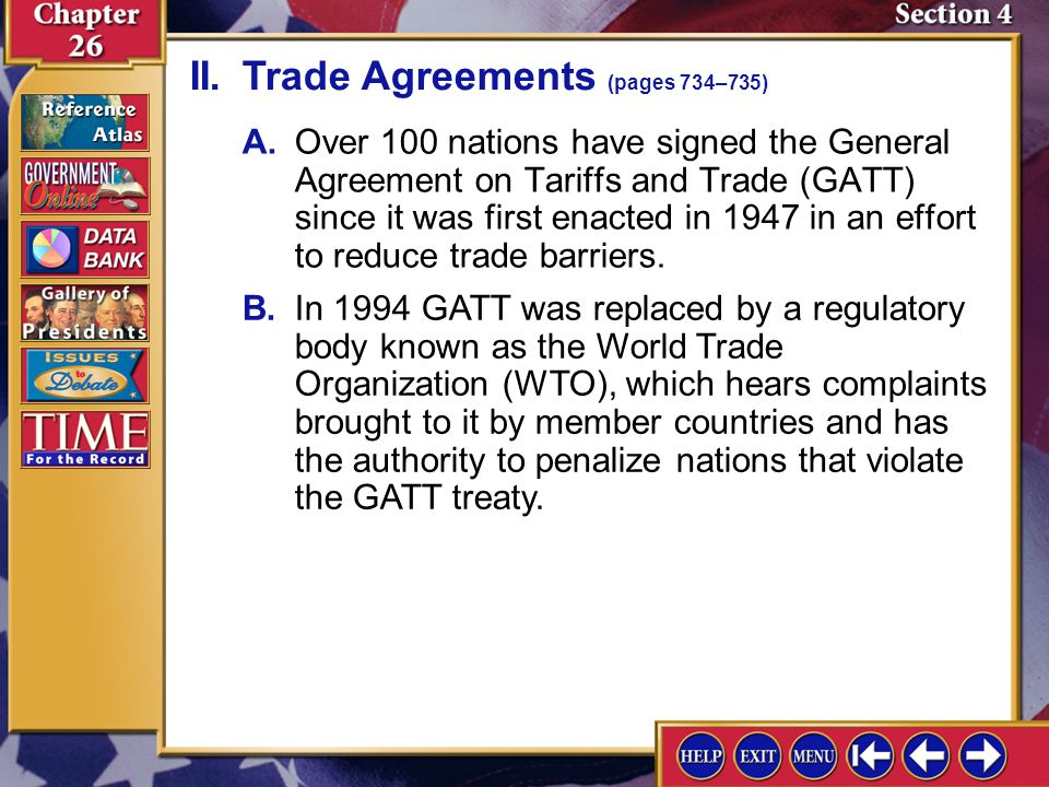 II. Trade Agreements (pages 734–735)