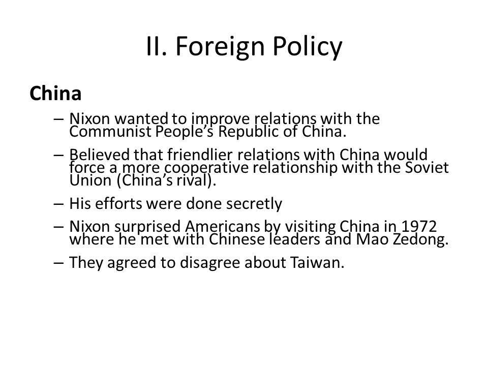 II. Foreign Policy China