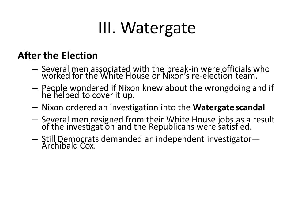 III. Watergate After the Election