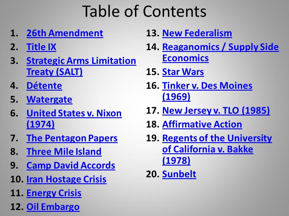 Table of Contents 26th Amendment New Federalism Title IX