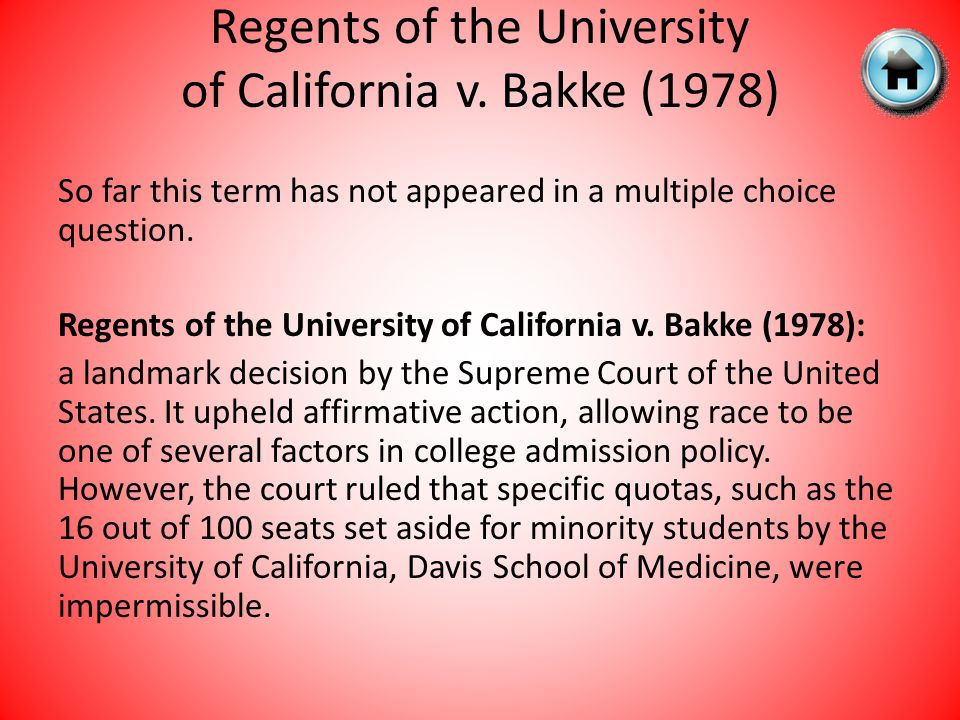 Regents of the University of California v. Bakke (1978)