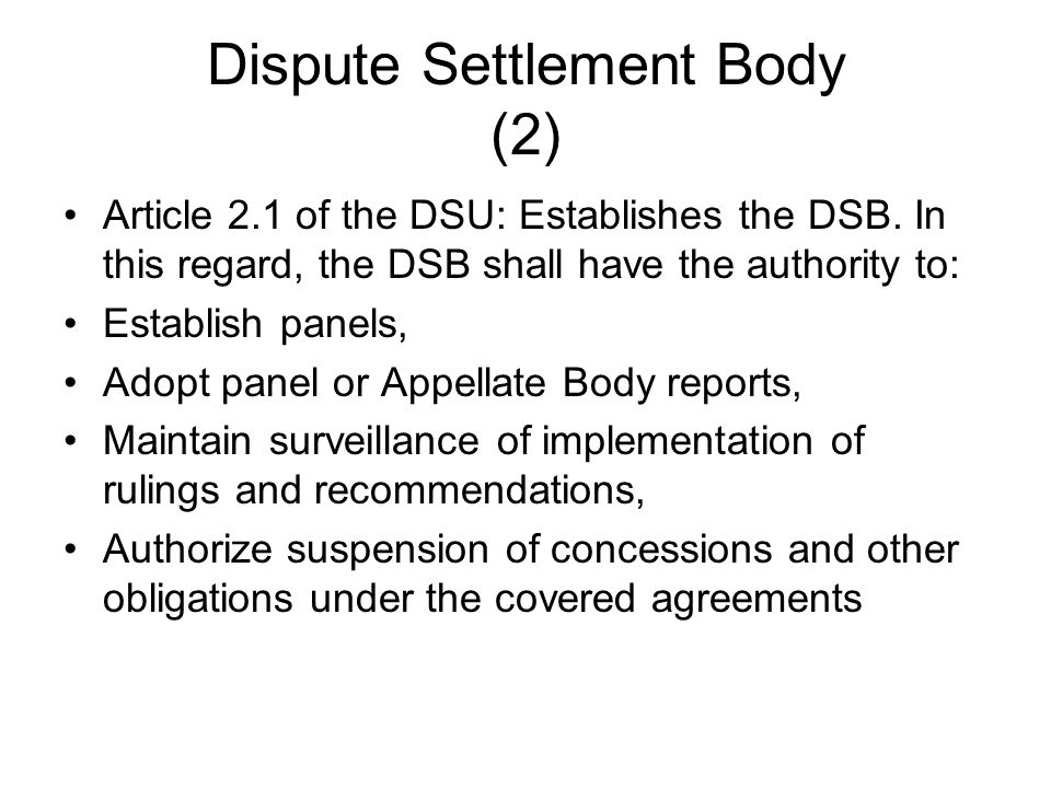 Dispute Settlement Body (2)