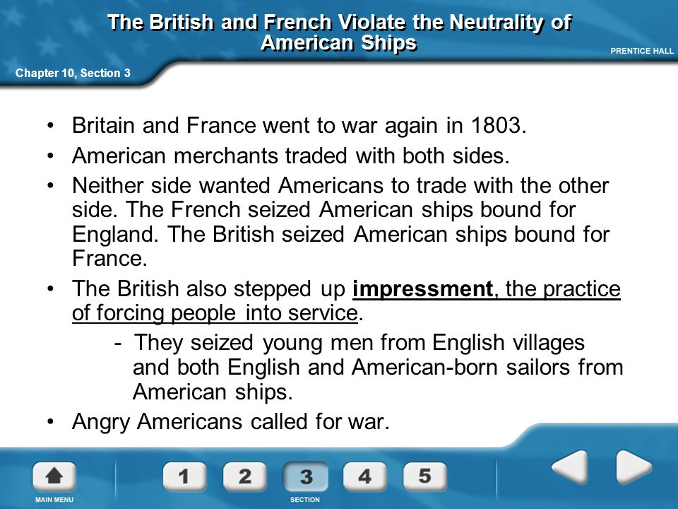The British and French Violate the Neutrality of American Ships