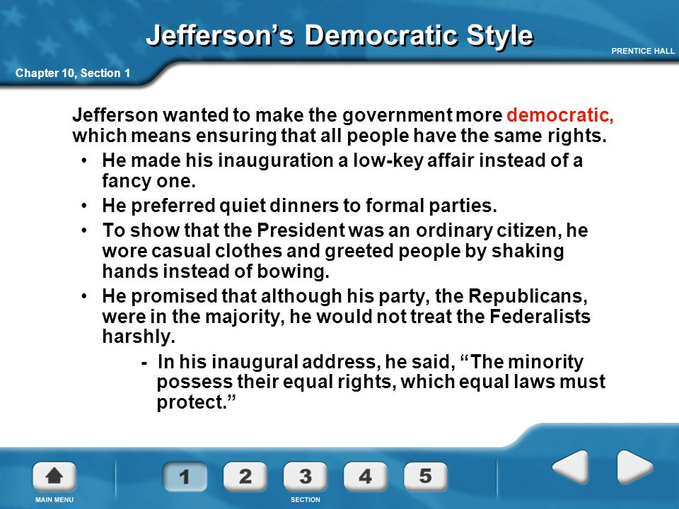Jefferson's Democratic Style