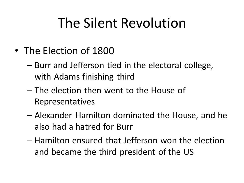 a report on the election of 1800