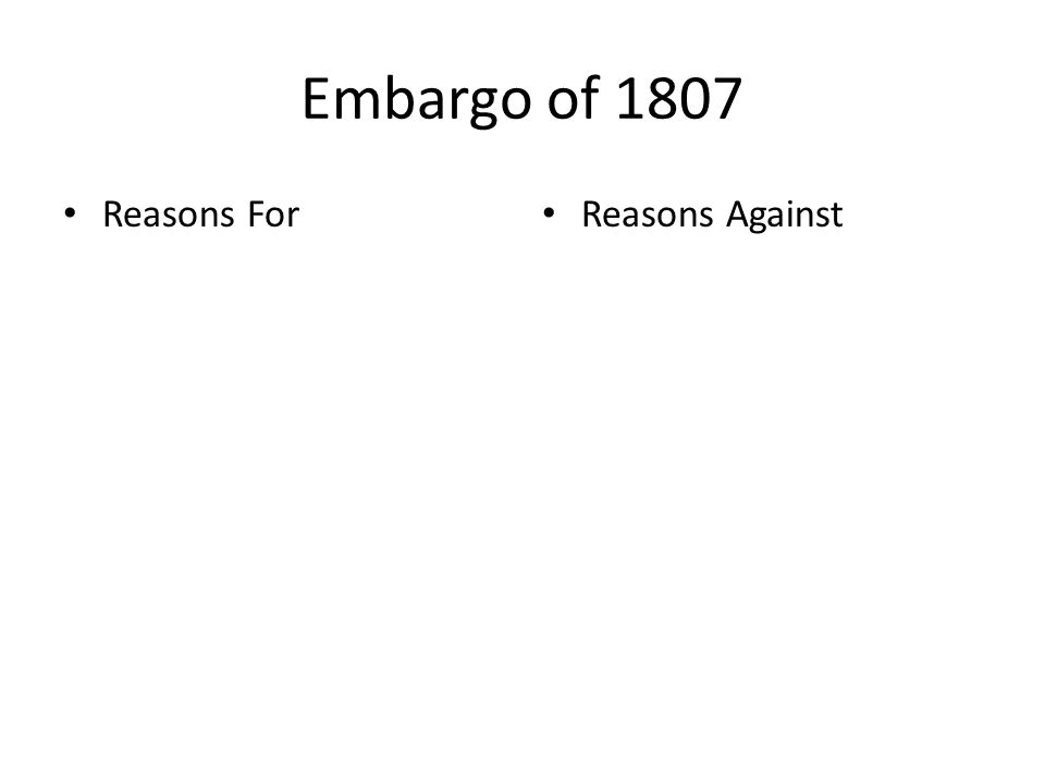 Embargo of 1807 Reasons For Reasons Against