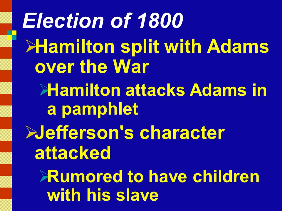 Election of 1800 Hamilton split with Adams over the War
