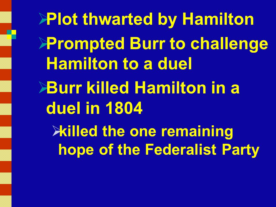 Plot thwarted by Hamilton