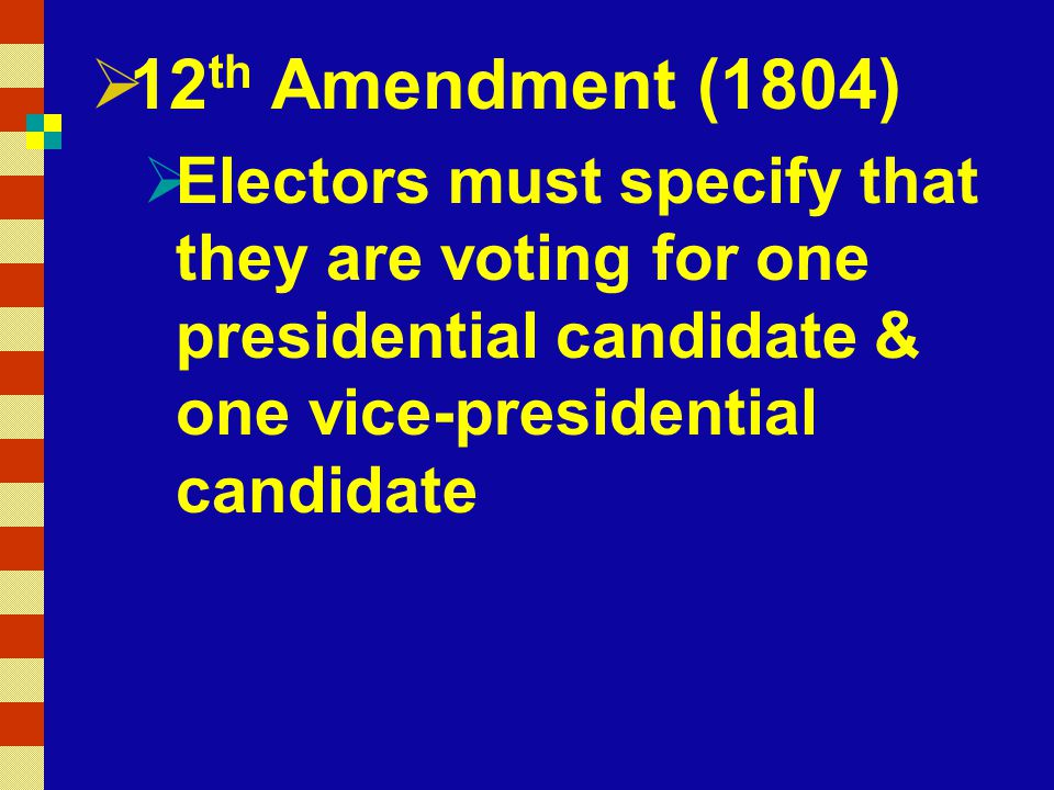 12th Amendment (1804) Electors must specify that they are voting for one presidential candidate & one vice-presidential candidate.
