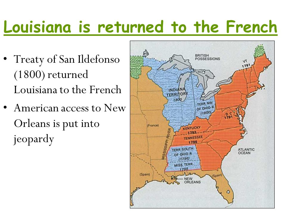 Louisiana is returned to the French