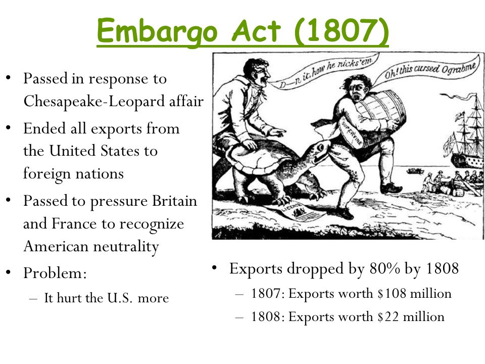 Embargo Act (1807) Passed in response to Chesapeake-Leopard affair