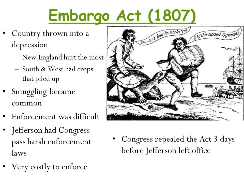 Embargo Act (1807) Country thrown into a depression