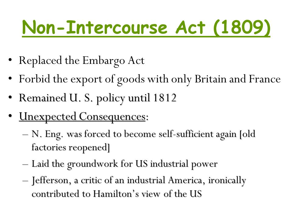 Non-Intercourse Act (1809)