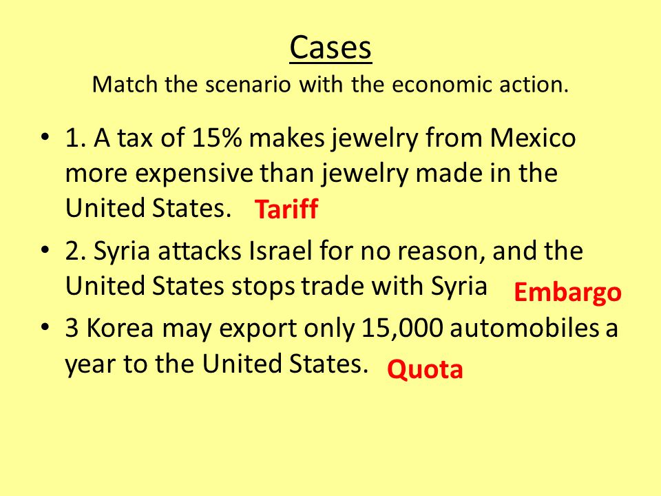 Cases Match the scenario with the economic action.