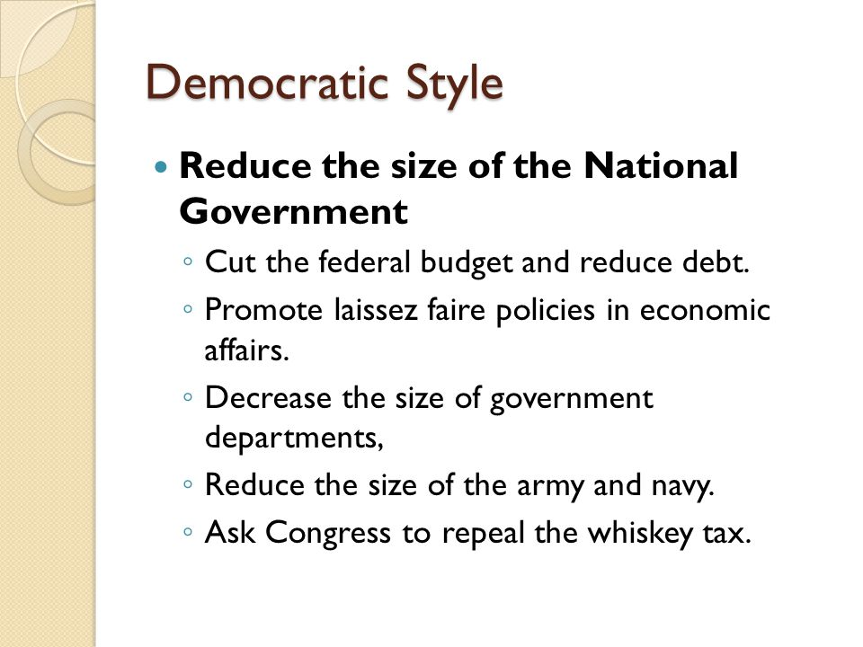 Democratic Style Reduce the size of the National Government