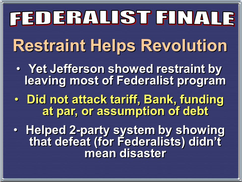 Restraint Helps Revolution