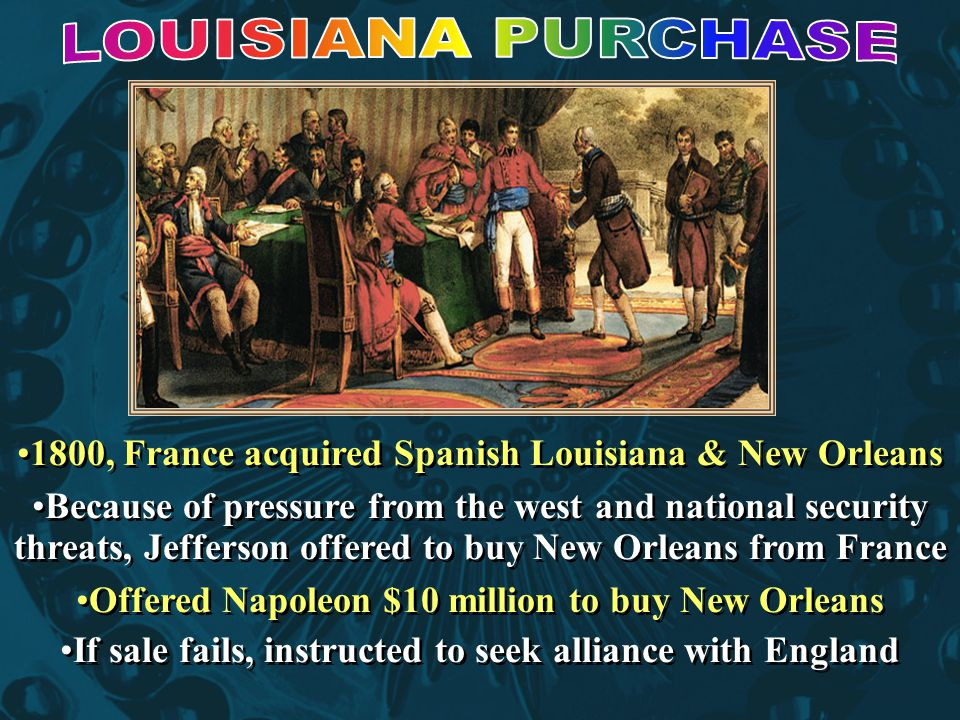 LOUISIANA PURCHASE 1800, France acquired Spanish Louisiana & New Orleans.