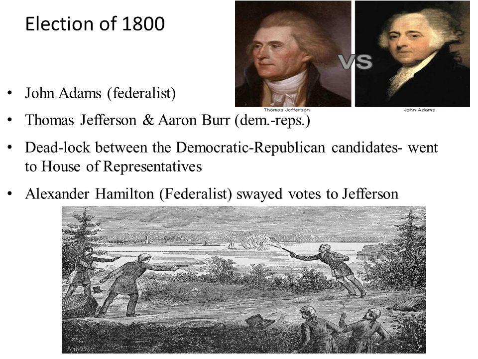 Election of 1800 John Adams (federalist)