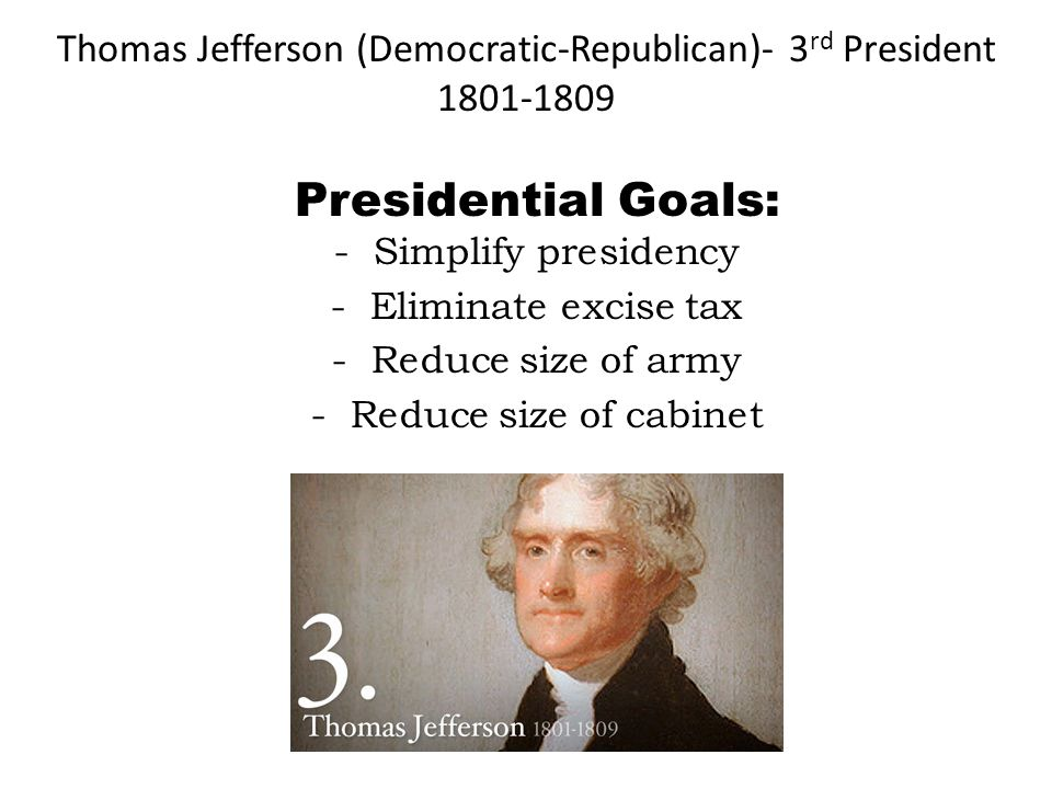 Thomas Jefferson (Democratic-Republican)- 3rd President
