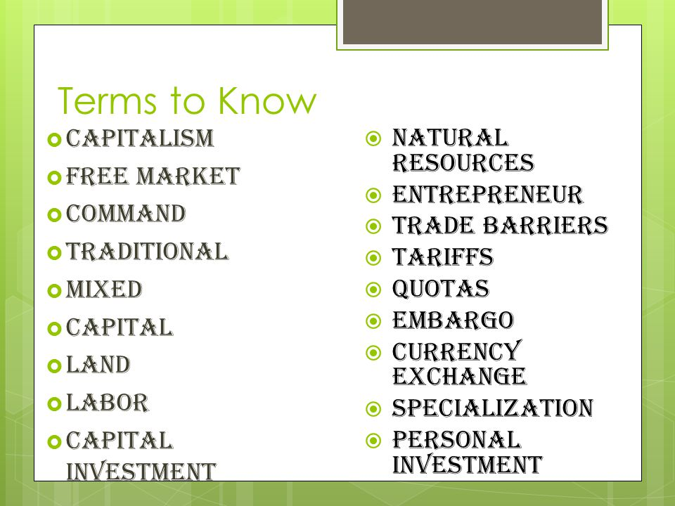 Terms to Know Capitalism Natural Resources Free Market Entrepreneur