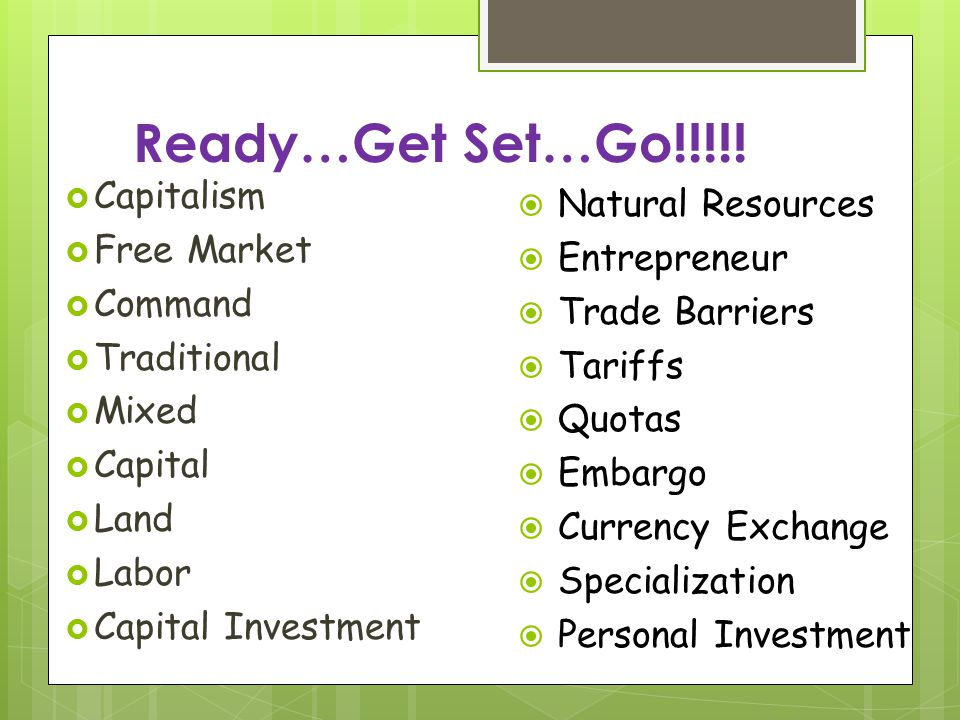 Ready…Get Set…Go!!!!! Capitalism Natural Resources Free Market