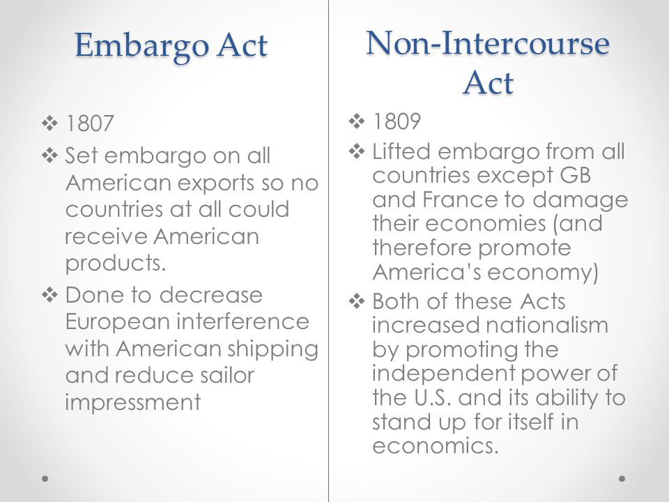 Embargo Act Non-Intercourse Act 1807 1809