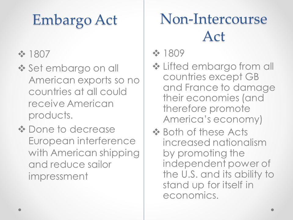 Embargo Act Non-Intercourse Act 1807 1809
