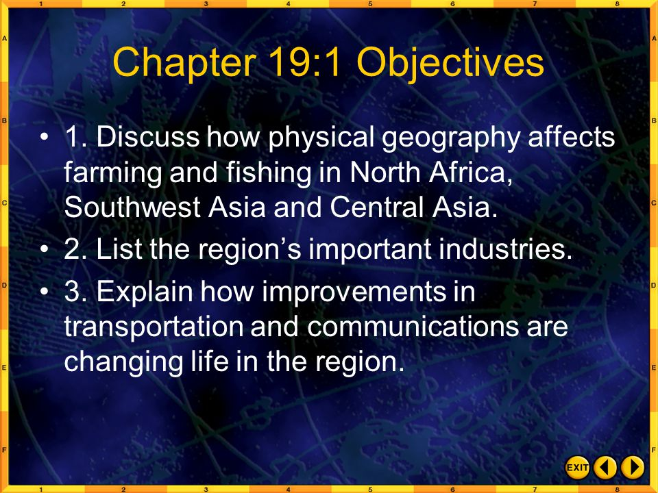Chapter 19:1 Objectives 1. Discuss how physical geography affects farming and fishing in North Africa, Southwest Asia and Central Asia.