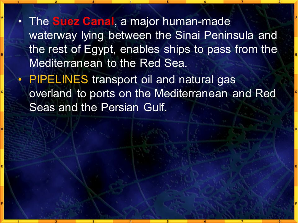 The Suez Canal, a major human-made waterway lying between the Sinai Peninsula and the rest of Egypt, enables ships to pass from the Mediterranean to the Red Sea.