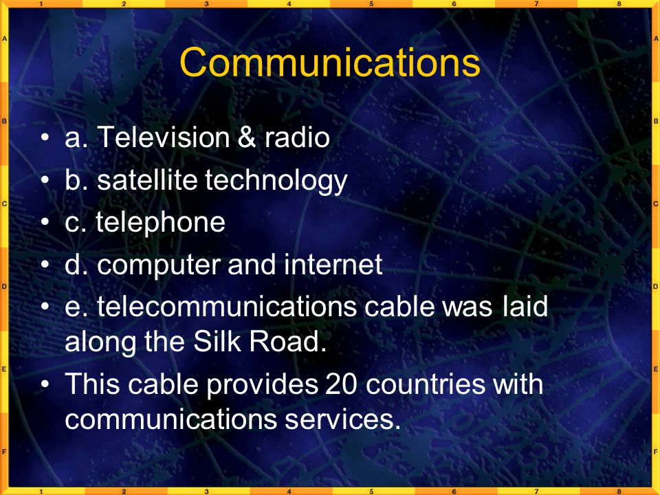 Communications a. Television & radio b. satellite technology