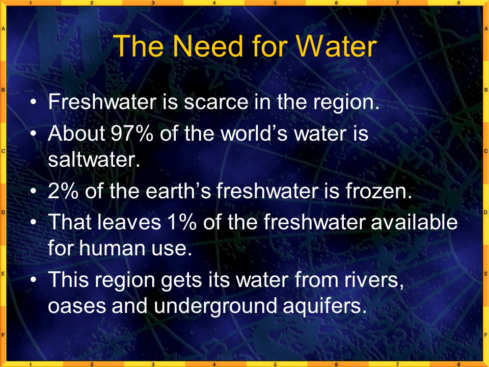The Need for Water Freshwater is scarce in the region.