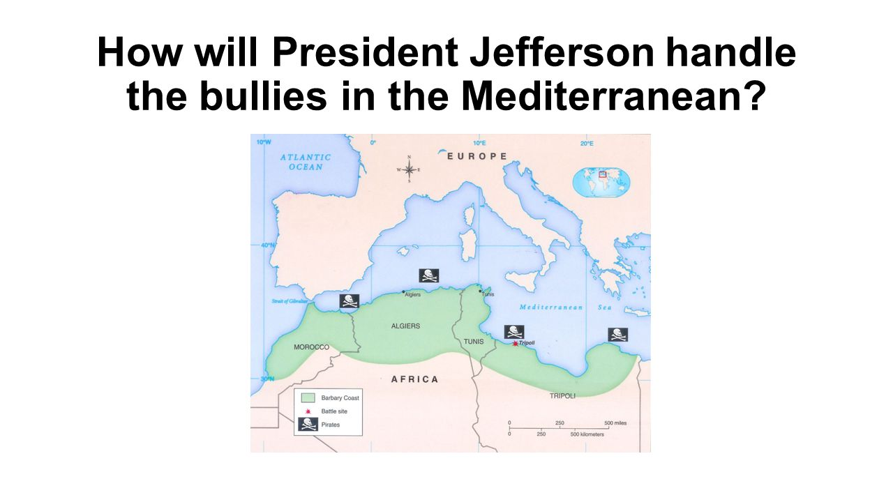 How will President Jefferson handle the bullies in the Mediterranean