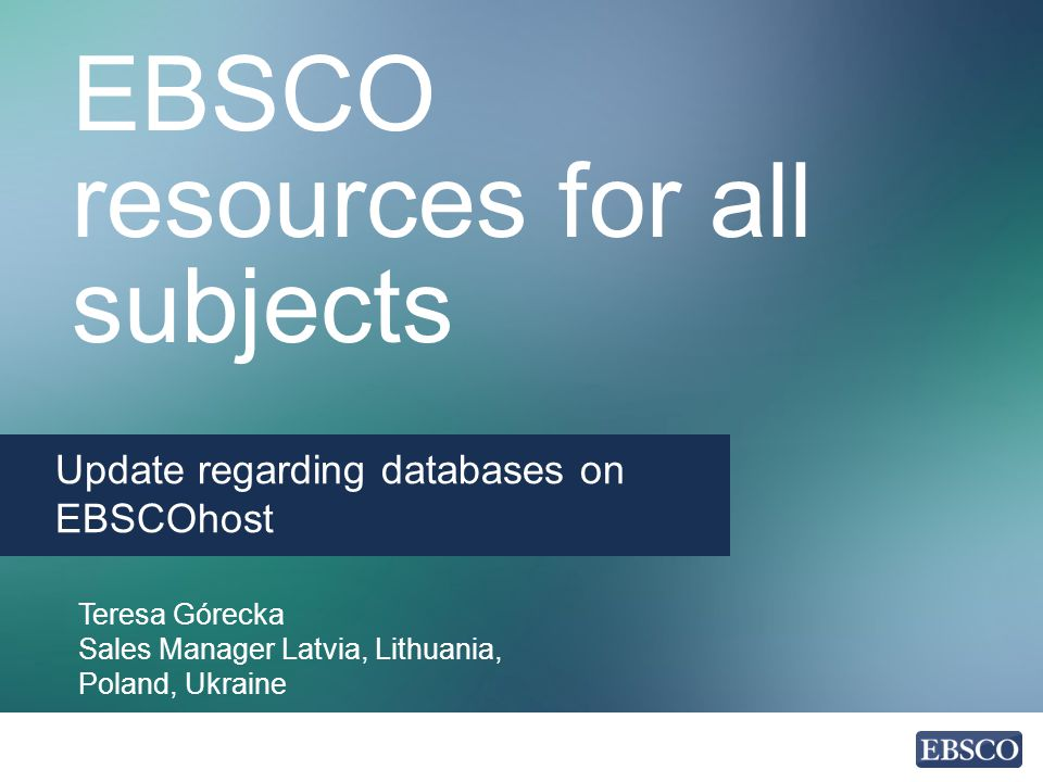EBSCO resources for all subjects